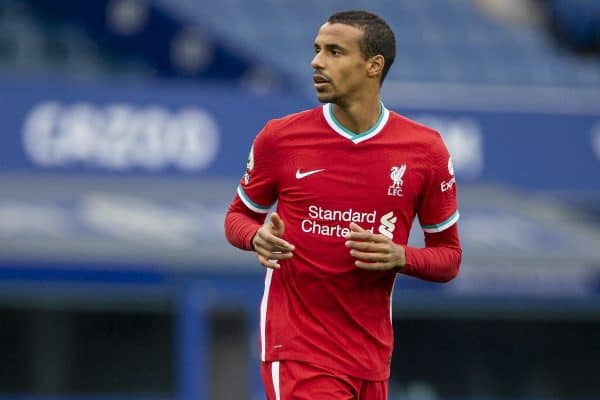 LIVERPOOL, ENGLAND - Saturday, October 17, 2020: Liverpool's Joel Matip during the FA Premier League match between Everton FC and Liverpool FC, the 237th Merseyside Derby, at Goodison Park. The game was played behind closed doors due to the UK government's social distancing laws during the Coronavirus COVID-19 Pandemic. The game ended in a 2-2 draw. (Pic by David Rawcliffe/Propaganda)