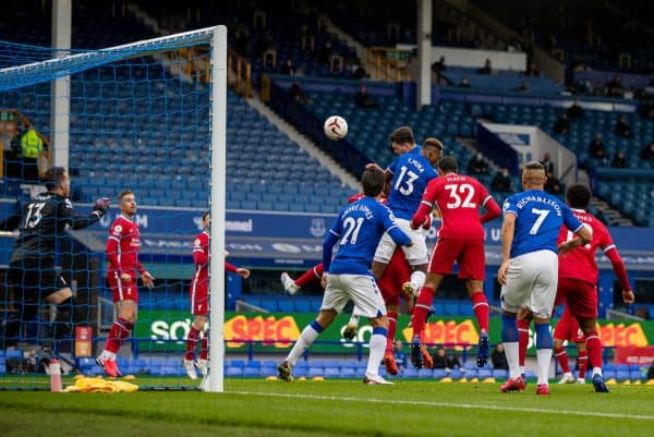 LIVERPOOL, ENGLAND - Saturday, October 17, 2020: Everton's Michael Keane scores the first equalising goal to make the score 1-1 during the FA Premier League match between Everton FC and Liverpool FC, the 237th Merseyside Derby, at Goodison Park. The game was played behind closed doors due to the UK government's social distancing laws during the Coronavirus COVID-19 Pandemic. The game ended in a 2-2 draw. (Pic by David Rawcliffe/Propaganda)