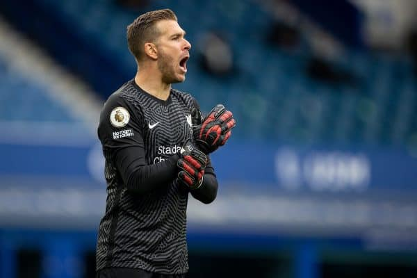 LIVERPOOL, ENGLAND - Saturday, October 17, 2020: Liverpool's goalkeeper Adrián San Miguel del Castillo during the FA Premier League match between Everton FC and Liverpool FC, the 237th Merseyside Derby, at Goodison Park. The game was played behind closed doors due to the UK government's social distancing laws during the Coronavirus COVID-19 Pandemic. The game ended in a 2-2 draw. (Pic by David Rawcliffe/Propaganda)