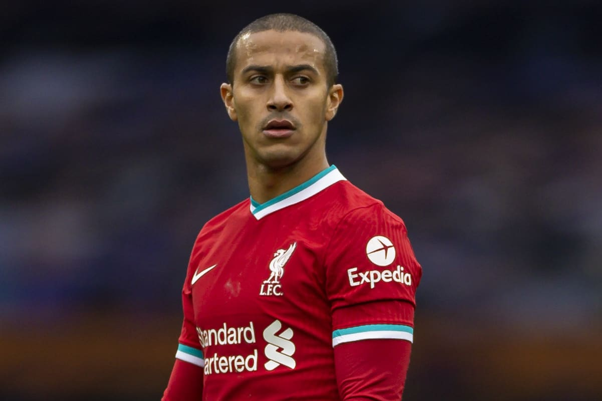 LIVERPOOL, ENGLAND - Saturday, October 17, 2020: Liverpool's Thiago Alcantara during the FA Premier League match between Everton FC and Liverpool FC, the 237th Merseyside Derby, at Goodison Park. The game was played behind closed doors due to the UK government's social distancing laws during the Coronavirus COVID-19 Pandemic. The game ended in a 2-2 draw. (Pic by David Rawcliffe/Propaganda)