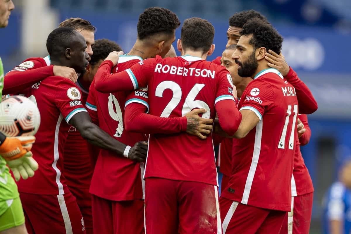 LIVERPOOL, ENGLAND - Saturday, October 17, 2020: Liverpool's Mohamed Salah (R) celebrates with team-mates after scoring the second goal during the FA Premier League match between Everton FC and Liverpool FC, the 237th Merseyside Derby, at Goodison Park. The game was played behind closed doors due to the UK government's social distancing laws during the Coronavirus COVID-19 Pandemic. The game ended in a 2-2 draw. (Pic by David Rawcliffe/Propaganda)