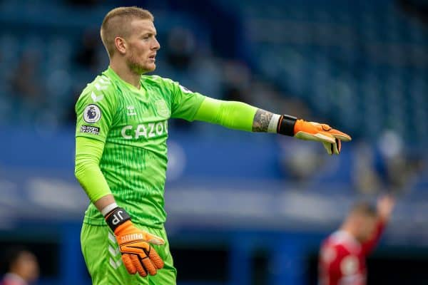 LIVERPOOL, ENGLAND - Saturday, October 17, 2020: Everton's goalkeeper Jordan Pickford during the FA Premier League match between Everton FC and Liverpool FC, the 237th Merseyside Derby, at Goodison Park. The game was played behind closed doors due to the UK government's social distancing laws during the Coronavirus COVID-19 Pandemic. The game ended in a 2-2 draw. (Pic by David Rawcliffe/Propaganda)