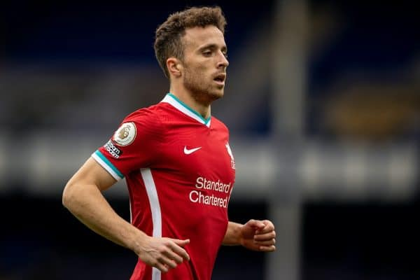 LIVERPOOL, ENGLAND - Saturday, October 17, 2020: Liverpool's Diogo Jota during the FA Premier League match between Everton FC and Liverpool FC, the 237th Merseyside Derby, at Goodison Park. The game was played behind closed doors due to the UK government's social distancing laws during the Coronavirus COVID-19 Pandemic. The game ended in a 2-2 draw. (Pic by David Rawcliffe/Propaganda)