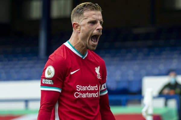 LIVERPOOL, ENGLAND - Saturday, October 17, 2020: Liverpool's captain Jordan Henderson celebrates scoring an injury time winning goal, only for it to to be ruled out for offside, following a VAR review during the FA Premier League match between Everton FC and Liverpool FC, the 237th Merseyside Derby, at Goodison Park. The game was played behind closed doors due to the UK government's social distancing laws during the Coronavirus COVID-19 Pandemic. The game ended in a 2-2 draw. (Pic by David Rawcliffe/Propaganda)