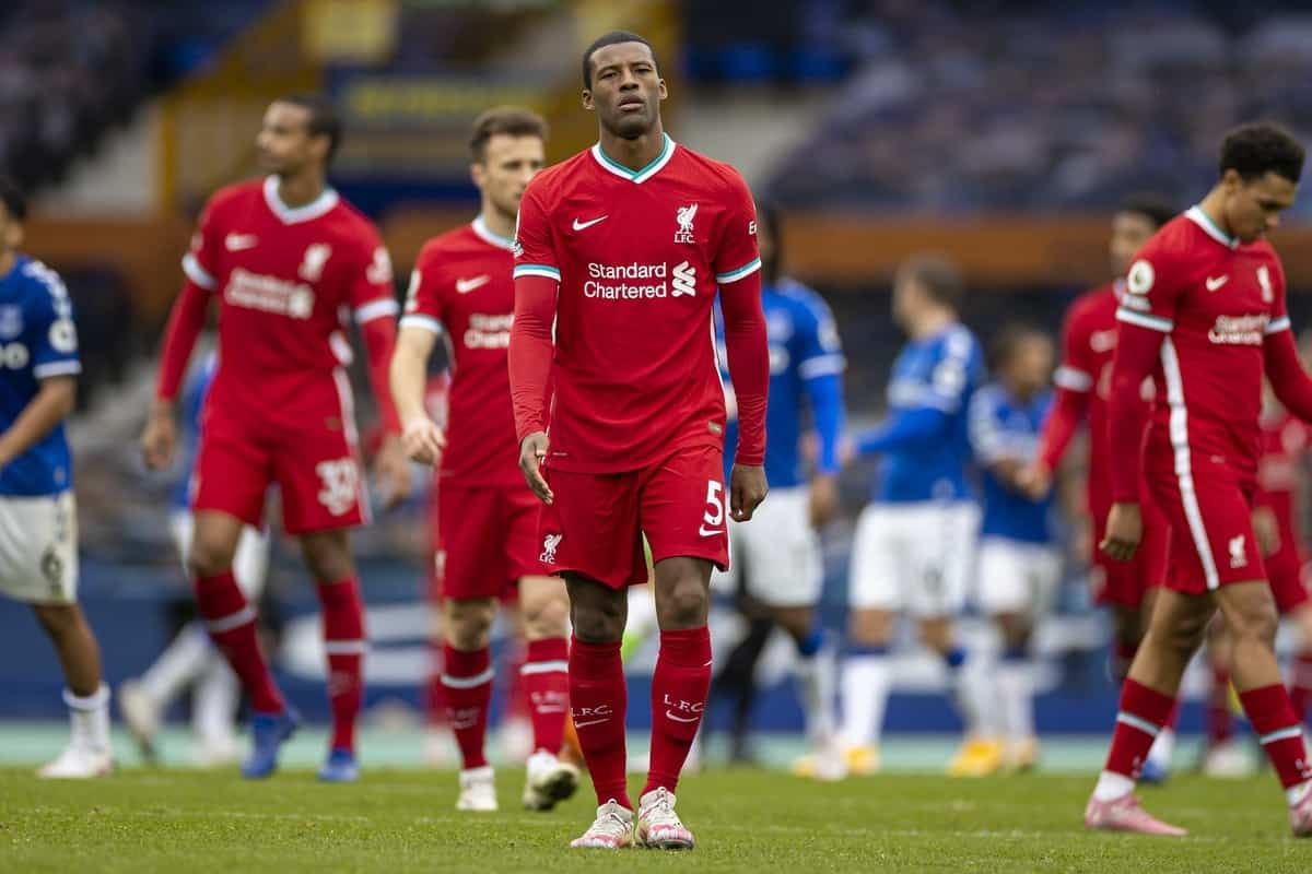 LIVERPOOL, ENGLAND - Saturday, October 17, 2020: Liverpool's Georginio Wijnaldum walks back to the dressing room at full time after an injury time winning goal was disallowed following a VAR review during the FA Premier League match between Everton FC and Liverpool FC, the 237th Merseyside Derby, at Goodison Park. The game was played behind closed doors due to the UK government's social distancing laws during the Coronavirus COVID-19 Pandemic. The game ended in a 2-2 draw. (Pic by David Rawcliffe/Propaganda)