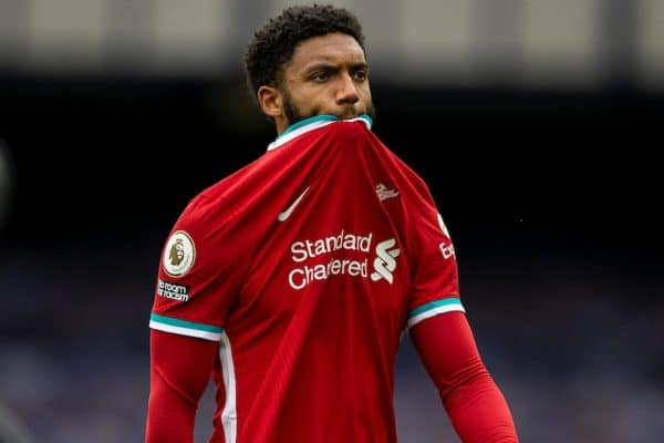 Liverpool's Joe Gomez walks back to the dressing room at full time after an injury time winning goal was disallowed following a VAR review during the FA Premier League match between Everton FC and Liverpool FC, the 237th Merseyside Derby, at Goodison Park. The game was played behind closed doors due to the UK government's social distancing laws during the Coronavirus COVID-19 Pandemic. The game ended in a 2-2 draw. (Pic by David Rawcliffe/Propaganda)