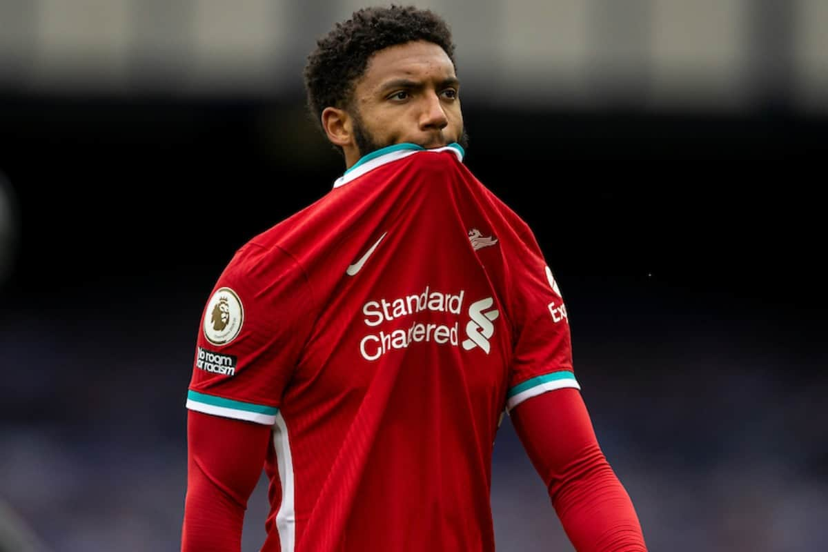 LIVERPOOL, ENGLAND - Saturday, October 17, 2020: Liverpool's Joe Gomez walks back to the dressing room at full time after an injury time winning goal was disallowed following a VAR review during the FA Premier League match between Everton FC and Liverpool FC, the 237th Merseyside Derby, at Goodison Park. The game was played behind closed doors due to the UK government's social distancing laws during the Coronavirus COVID-19 Pandemic. The game ended in a 2-2 draw. (Pic by David Rawcliffe/Propaganda)