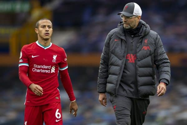 Liverpool's Thiago Alcantara (L) and manager Jürgen Klopp walk back to the dressing room at full time after an injury time winning goal was disallowed following a VAR review during the FA Premier League match between Everton FC and Liverpool FC, the 237th Merseyside Derby, at Goodison Park. The game was played behind closed doors due to the UK government's social distancing laws during the Coronavirus COVID-19 Pandemic. The game ended in a 2-2 draw. (Pic by David Rawcliffe/Propaganda)