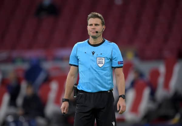 AMSTERDAM, THE NETHERLANDS - Wednesday, October 21, 2020: Referee Felix Brych during the opening UEFA Champions League Group D match between AFC Ajax and Liverpool FC at the Johan Cruijff ArenA. (Pic by Gerrit van Keulen/Orange Pictures via Propaganda)