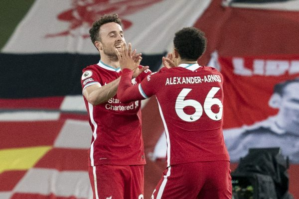 LIVERPOOL, ENGLAND - Saturday, October 24, 2020: Liverpool's Diogo Jota celebrates with team-mate Trent Alexander-Arnold after scoring the second goal to give his side a 2-1 lead during the FA Premier League match between Liverpool FC and Sheffield United FC at Anfield. The game was played behind closed doors due to the UK government's social distancing laws during the Coronavirus COVID-19 Pandemic. (Pic by Propaganda)