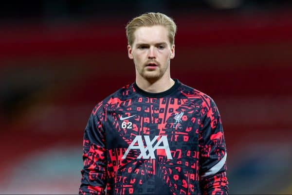 LIVERPOOL, ENGLAND - Tuesday, October 27, 2020: Liverpool's goalkeeper Caoimhin Kelleher during the pre-match warm-up before the UEFA Champions League Group D match between Liverpool FC and FC Midtjylland at Anfield. Liverpool won 2-0. (Pic by David Rawcliffe/Propaganda)