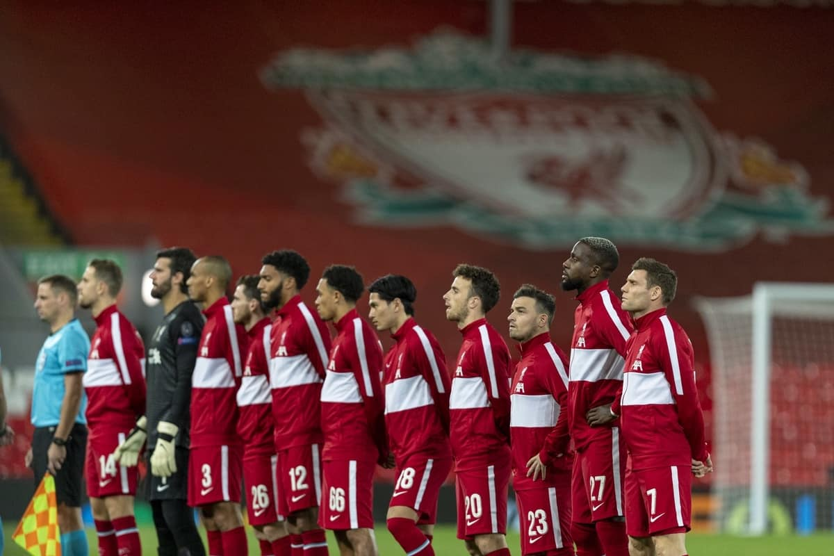 LIVERPOOL, ENGLAND - Tuesday, October 27, 2020: Liverpool players line-up before the UEFA Champions League Group D match between Liverpool FC and FC Midtjylland at Anfield. Liverpool won 2-0. (Pic by David Rawcliffe/Propaganda)