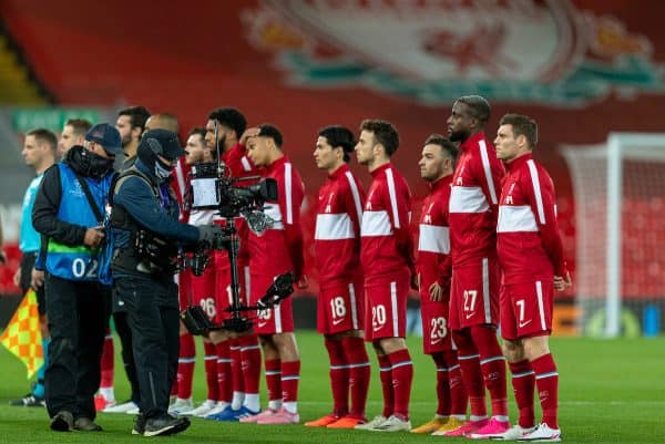 Matchday, Liverpool lineup pre-match at Anfield. TV camera. (Pic by David Rawcliffe/Propaganda)