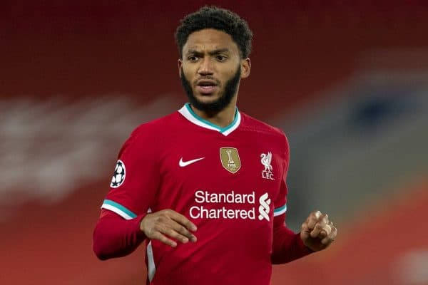 LIVERPOOL, ENGLAND - Tuesday, October 27, 2020: Liverpool's Joe Gomez during the UEFA Champions League Group D match between Liverpool FC and FC Midtjylland at Anfield. Liverpool won 2-0. (Pic by David Rawcliffe/Propaganda)