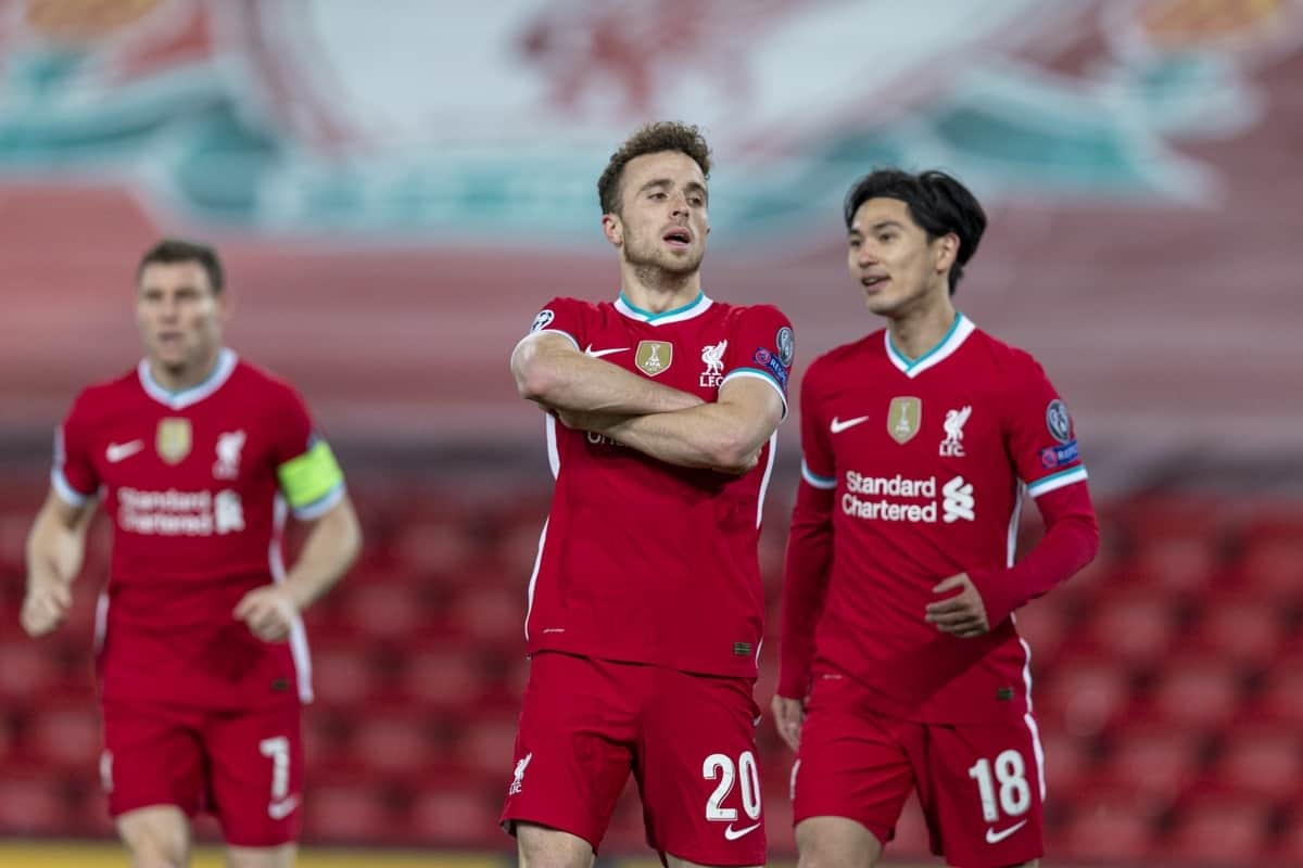 LIVERPOOL, ENGLAND - Tuesday, October 27, 2020: Liverpool's Diogo Jota celebrates after scoring the first goal, the club's 10,000th goal, during the UEFA Champions League Group D match between Liverpool FC and FC Midtjylland at Anfield. Liverpool won 2-0. (Pic by David Rawcliffe/Propaganda)