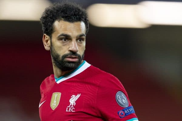LIVERPOOL, ENGLAND - Tuesday, October 27, 2020: Liverpool's Mohamed Salah during the UEFA Champions League Group D match between Liverpool FC and FC Midtjylland at Anfield. Liverpool won 2-0. (Pic by David Rawcliffe/Propaganda)