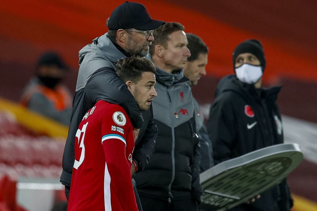 LIVERPOOL, ENGLAND - Saturday, October 31, 2020: Liverpool's manager Jürgen Klopp prepares to bring on substitutes Xherdan Shaqiri and Diogo Jota (L) during the FA Premier League match between Liverpool FC and West Ham United FC at Anfield. The game was played behind closed doors due to the UK government's social distancing laws during the Coronavirus COVID-19 Pandemic. (Pic by Propaganda)