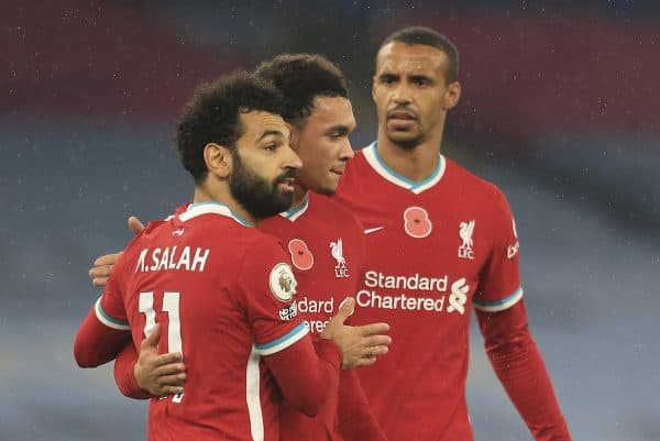 MANCHESTER, ENGLAND - Sunday, November 8, 2020: Liverpool's Mohamed Salah celebrates after scoring the first goal with team-mates Trent Alexander-Arnold (C) and Joel Matip (R) during the FA Premier League match between Manchester City FC and Liverpool FC at the City of Manchester Stadium. The game was played behind closed doors due to the UK government's social distancing laws during the Coronavirus COVID-19 Pandemic. The game ended in a 1-1 draw. (Pic by Propaganda)