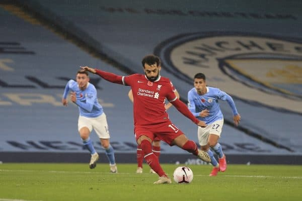 MANCHESTER, ENGLAND - Sunday, November 8, 2020: Liverpool's Mohamed Salah scores the his side's only goal from a penalty kick during the FA Premier League match between Manchester City FC and Liverpool FC at the City of Manchester Stadium. The game was played behind closed doors due to the UK government's social distancing laws during the Coronavirus COVID-19 Pandemic. The game ended in a 1-1 draw. (Pic by Propaganda)