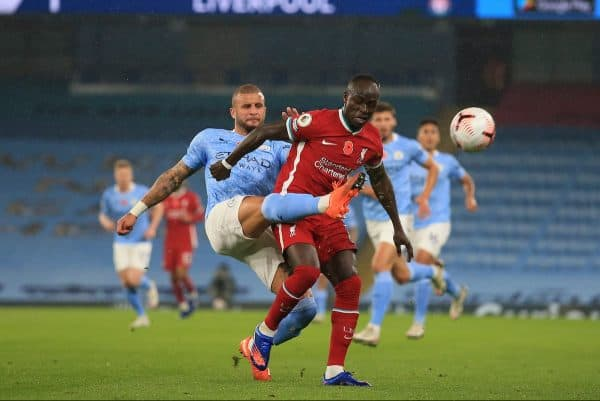MANCHESTER, ENGLAND - Sunday, November 8, 2020: Manchester City's Kyle Walker (L) challenges Liverpool's Sadio Mané during the FA Premier League match between Manchester City FC and Liverpool FC at the City of Manchester Stadium. The game was played behind closed doors due to the UK government's social distancing laws during the Coronavirus COVID-19 Pandemic. The game ended in a 1-1 draw. (Pic by Propaganda)