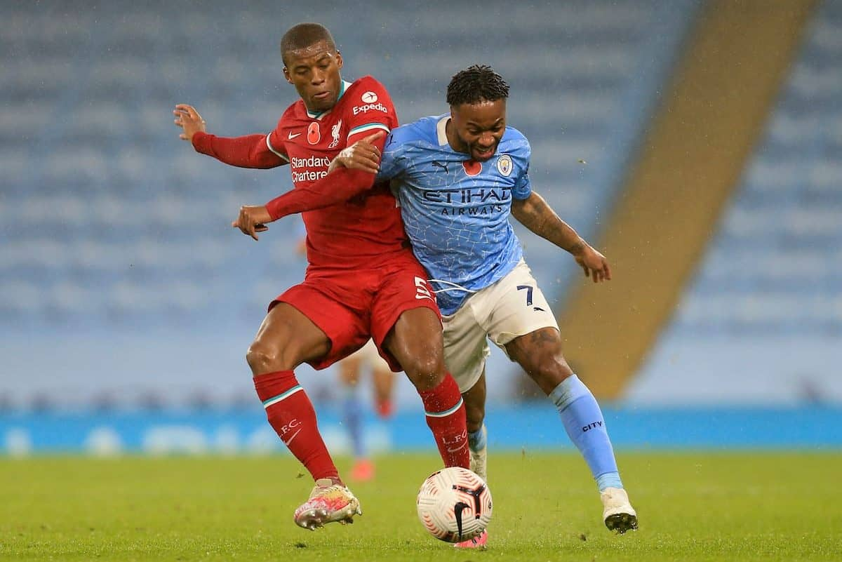 MANCHESTER, ENGLAND - Sunday, November 8, 2020: Liverpool's Georginio Wijnaldum (L) challenges Manchester City's Raheem Sterling during the FA Premier League match between Manchester City FC and Liverpool FC at the City of Manchester Stadium. The game was played behind closed doors due to the UK government's social distancing laws during the Coronavirus COVID-19 Pandemic. The game ended in a 1-1 draw. (Pic by Propaganda)