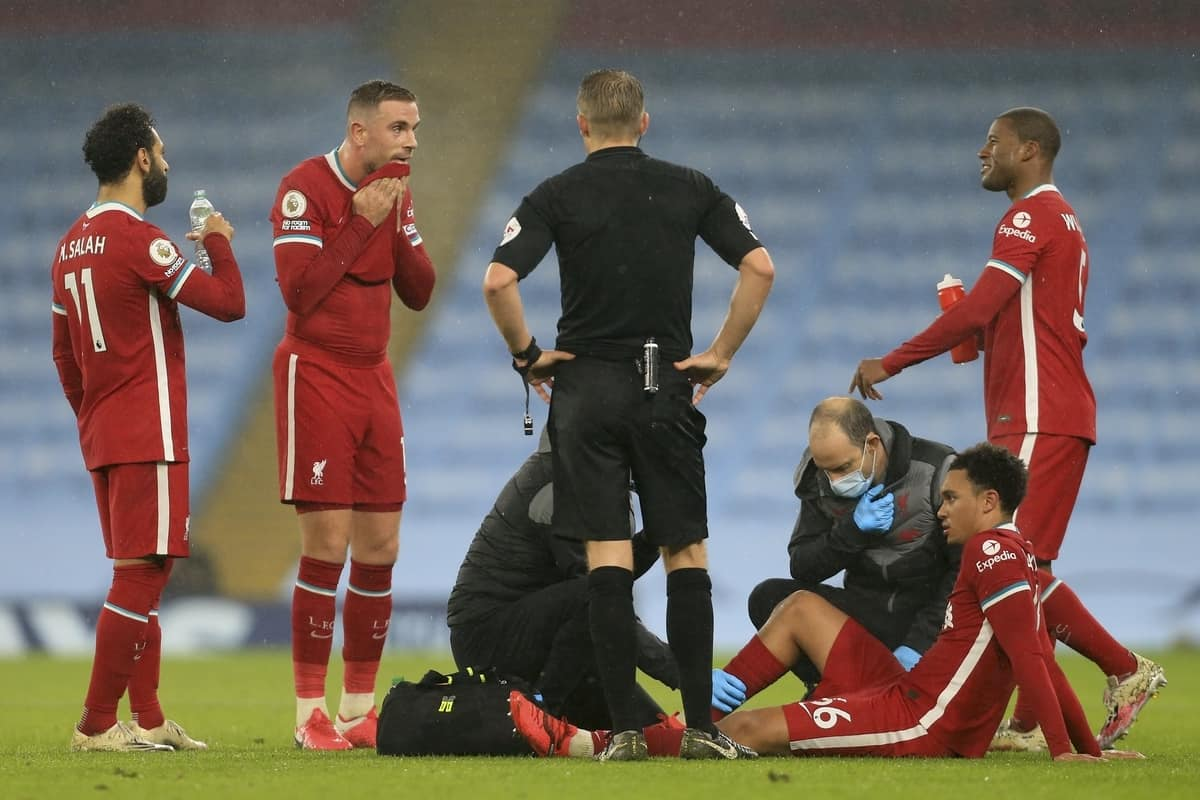MANCHESTER, ENGLAND - Sunday, November 8, 2020: Liverpool's Trent Alexander-Arnold receives treatment for an injury that forced him out of the game during the FA Premier League match between Manchester City FC and Liverpool FC at the City of Manchester Stadium. The game was played behind closed doors due to the UK government's social distancing laws during the Coronavirus COVID-19 Pandemic. The game ended in a 1-1 draw. (Pic by Propaganda)