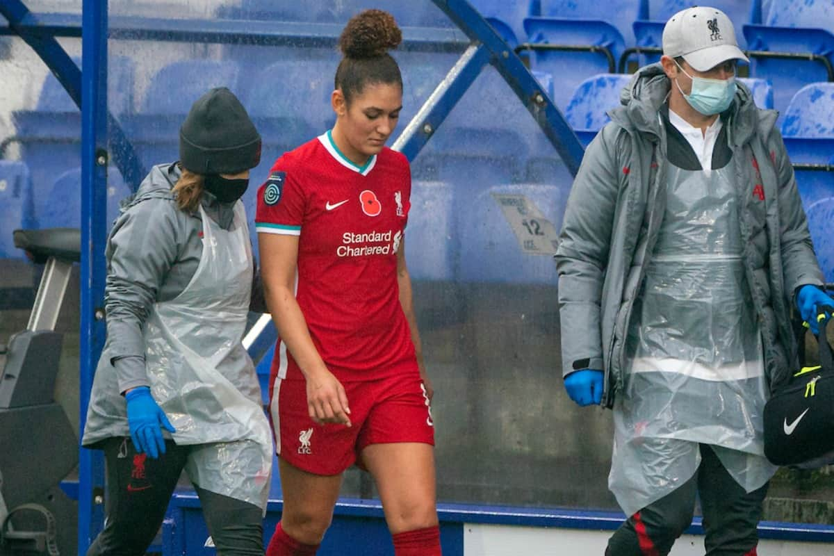 BIRKENHEAD, ENGLAND - Sunday, November 8, 2020: Liverpool's Jade Bailey walks off injured during the FA Women's Championship game between Liverpool FC Women and Sheffield United Women FC at Prenton Park. Liverpool won 1-0. (Pic by David Rawcliffe/Propaganda)