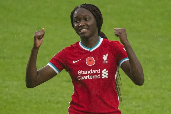 BIRKENHEAD, ENGLAND - Sunday, November 8, 2020: Liverpool's match-winning goal-scorer Rinsola Babajide celebrates at the final whistle during the FA Women's Championship game between Liverpool FC Women and Sheffield United Women FC at Prenton Park. Liverpool won 1-0. (Pic by David Rawcliffe/Propaganda)