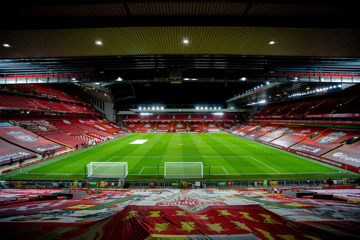 LIVERPOOL, ENGLAND - Sunday, November 22, 2020: A general view from the Spion Kop before the FA Premier League match between Liverpool FC and Leicester City FC at Anfield. The game was played behind closed doors due to the UK government's social distancing laws during the Coronavirus COVID-19 Pandemic. Liverpool won 3-0. (Pic by David Rawcliffe/Propaganda)