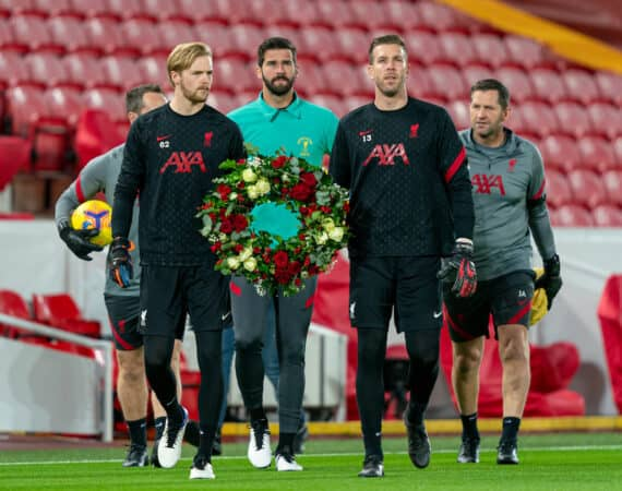 LIVERPOOL, ENGLAND - Sunday, November 22, 2020: Liverpool's goalkeepers Caoimhin Kelleher, Alisson Becker and Adrián San Miguel del Castillo walk out with a wreath for former Liverpool and England goalkeeper Ray Clemence who died earlier in the week, pictured before the FA Premier League match between Liverpool FC and Leicester City FC at Anfield. The game was played behind closed doors due to the UK government's social distancing laws during the Coronavirus COVID-19 Pandemic. Liverpool won 3-0. (Pic by David Rawcliffe/Propaganda)