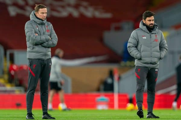 LIVERPOOL, ENGLAND - Sunday, November 22, 2020: Liverpool's first-team development coach Pepijn Lijnders (L) and elite development coach Vitor Matos during the FA Premier League match between Liverpool FC and Leicester City FC at Anfield. The game was played behind closed doors due to the UK government's social distancing laws during the Coronavirus COVID-19 Pandemic. Liverpool won 3-0. (Pic by David Rawcliffe/Propaganda)