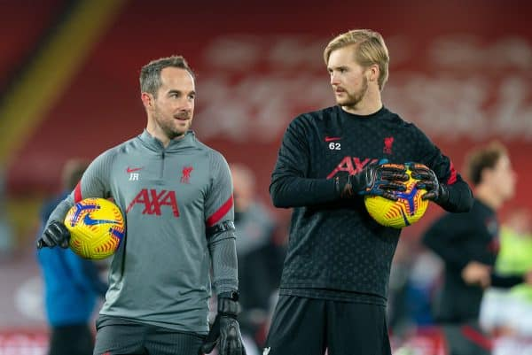 LIVERPOOL, ENGLAND - Sunday, November 22, 2020: Liverpool's goalkeeping coach Jack Robinson (L) and goalkeeper Caoimhin Kelleher during the pre-match warm-up before the FA Premier League match between Liverpool FC and Leicester City FC at Anfield. The game was played behind closed doors due to the UK government's social distancing laws during the Coronavirus COVID-19 Pandemic. Liverpool won 3-0. (Pic by David Rawcliffe/Propaganda)