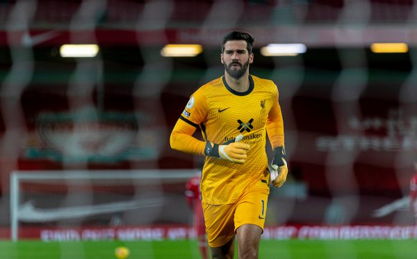 LIVERPOOL, ENGLAND - Sunday, November 22, 2020: Liverpool's goalkeeper Alisson Becker during the FA Premier League match between Liverpool FC and Leicester City FC at Anfield. The game was played behind closed doors due to the UK government's social distancing laws during the Coronavirus COVID-19 Pandemic. Liverpool won 3-0. (Pic by David Rawcliffe/Propaganda)
