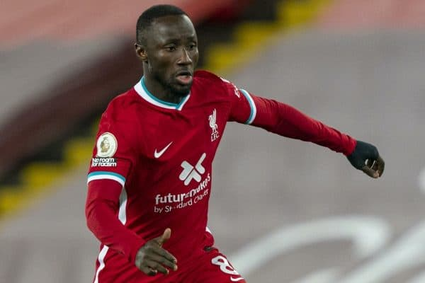 LIVERPOOL, ENGLAND - Sunday, November 22, 2020: Liverpool's Naby Keita during the FA Premier League match between Liverpool FC and Leicester City FC at Anfield. The game was played behind closed doors due to the UK government's social distancing laws during the Coronavirus COVID-19 Pandemic. Liverpool won 3-0. (Pic by David Rawcliffe/Propaganda)