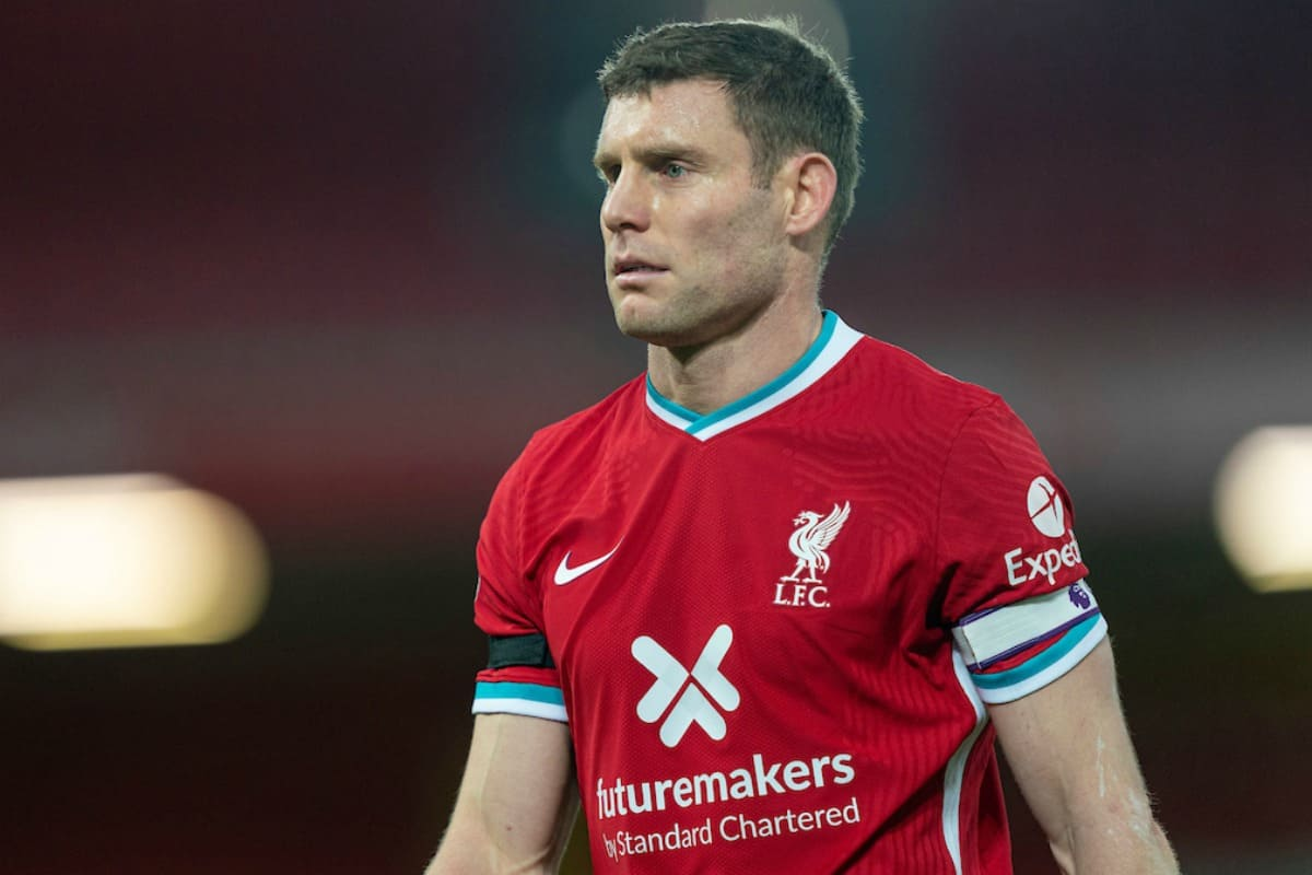LIVERPOOL, ENGLAND - Sunday, November 22, 2020: Liverpool's captain James Milner during the FA Premier League match between Liverpool FC and Leicester City FC at Anfield. The game was played behind closed doors due to the UK government's social distancing laws during the Coronavirus COVID-19 Pandemic. Liverpool won 3-0. (Pic by David Rawcliffe/Propaganda)