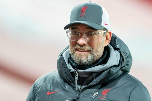 LIVERPOOL, ENGLAND - Sunday, November 22, 2020: Liverpool's manager Jürgen Klopp gives an interview to LFC.TV after the FA Premier League match between Liverpool FC and Leicester City FC at Anfield. The game was played behind closed doors due to the UK government's social distancing laws during the Coronavirus COVID-19 Pandemic. Liverpool won 3-0. (Pic by David Rawcliffe/Propaganda)