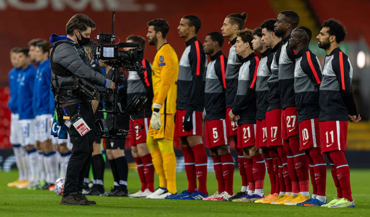 LIVERPOOL, ENGLAND - Wednesday, November 25, 2020: A television steadycam camera films the Liverpool players as they line-up before the UEFA Champions League Group D match between Liverpool FC and Atalanta BC at Anfield. Atalanta won 2-0. (Pic by David Rawcliffe/Propaganda)