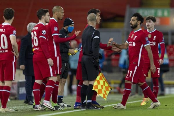LIVERPOOL, ENGLAND - Wednesday, November 25, 2020: Liverpool's Mohamed Salah is substituted as Liverpool make four changes at once during the UEFA Champions League Group D match between Liverpool FC and Atalanta BC at Anfield. Atalanta won 2-0. (Pic by David Rawcliffe/Propaganda)