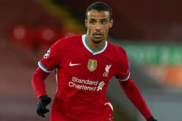 LIVERPOOL, ENGLAND - Wednesday, November 25, 2020: Liverpool's Joel Matip during the UEFA Champions League Group D match between Liverpool FC and Atalanta BC at Anfield. Atalanta won 2-0. (Pic by David Rawcliffe/Propaganda)