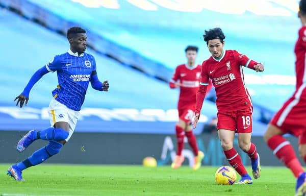 BRIGHTON & HOVE, ENGLAND - Saturday, November 28, 2020: Liverpool's Takumi Minamino during the FA Premier League match between Brighton & Hove Albion FC and Liverpool FC at the AMEX Stadium. The game was played behind closed doors due to the UK government's social distancing laws during the Coronavirus COVID-19 Pandemic. (Pic by Propaganda)