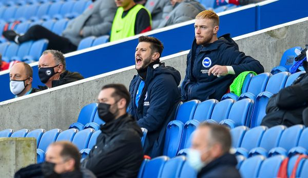 BRIGHTON & HOVE, ENGLAND - Saturday, November 28, 2020: Brighton & Hove Albion's substitute Adam Lallana on the bench during the FA Premier League match between Brighton & Hove Albion FC and Liverpool FC at the AMEX Stadium. The game was played behind closed doors due to the UK government's social distancing laws during the Coronavirus COVID-19 Pandemic. (Pic by Propaganda)