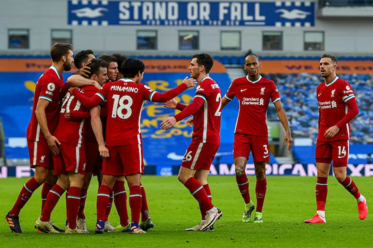 BRIGHTON & HOVE, ENGLAND - Saturday, November 28, 2020: Liverpool's Diogo Jota celebrates with team-mates after scoring the first goal during the FA Premier League match between Brighton & Hove Albion FC and Liverpool FC at the AMEX Stadium. The game was played behind closed doors due to the UK government's social distancing laws during the Coronavirus COVID-19 Pandemic. (Pic by Propaganda)