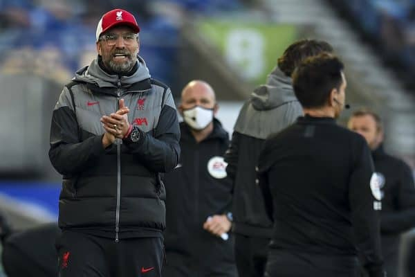 BRIGHTON & HOVE, ENGLAND - Saturday, November 28, 2020: Liverpool's manager Jürgen Klopp appaluds the assistant referee during the FA Premier League match between Brighton & Hove Albion FC and Liverpool FC at the AMEX Stadium. The game was played behind closed doors due to the UK government's social distancing laws during the Coronavirus COVID-19 Pandemic. (Pic by Propaganda)