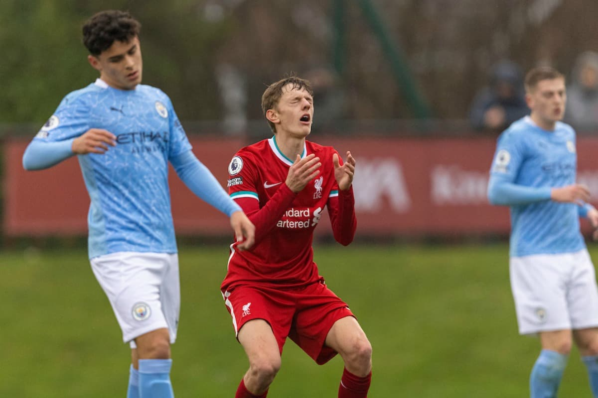 KIRKBY, ENGLAND - Saturday, November 28, 2020: Liverpool's Tom Clayton looks dejected after missing a chance during the Premier League 2 Division 1 match between Liverpool FC Under-23's and Manchester City FC Under-23's at the Liverpool Academy. (Pic by David Rawcliffe/Propaganda)