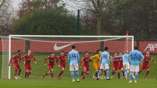 Manchester City's Tommy Doyle (#8) scores the seventh goal from a free-kick inside the Liverpool penalty area during the Premier League 2 Division 1 match between Liverpool FC Under-23's and Manchester City FC Under-23's at the Liverpool Academy. Manchester City won 7-2. (Pic by David Rawcliffe/Propaganda)