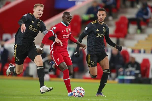 LIVERPOOL, ENGLAND - Tuesday, December 1, 2020: Sadio Mané of Liverpool and Perr Schuurs of Ajax during the UEFA Champions League Group D match between Liverpool FC and AFC Ajax at Anfield. (Pic by Paul Greenwood/Propaganda)