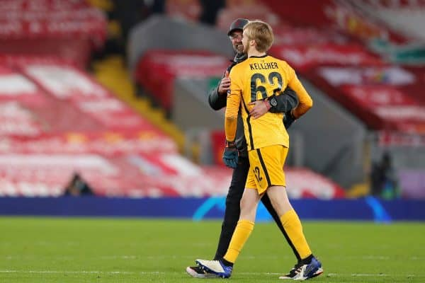 LIVERPOOL, ENGLAND - Tuesday, December 1, 2020: Liverpool's manager Jürgen Klopp hugs goalkeeper Caoimhin Kelleher after the UEFA Champions League Group D match between Liverpool FC and AFC Ajax at Anfield. (Pic by Paul Greenwood/Propaganda)