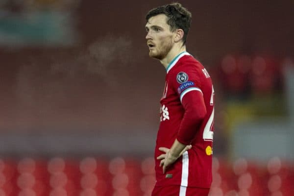 LIVERPOOL, ENGLAND - Tuesday 1st December 2020: Andy Robertson of Liverpool during the UEFA Champions League Group D match between Liverpool FC and AFC Ajax at Anfield.  Liverpool won 1-0 to win the group and advance to the round of 16.  (Photo by David Rawcliffe / Propaganda)