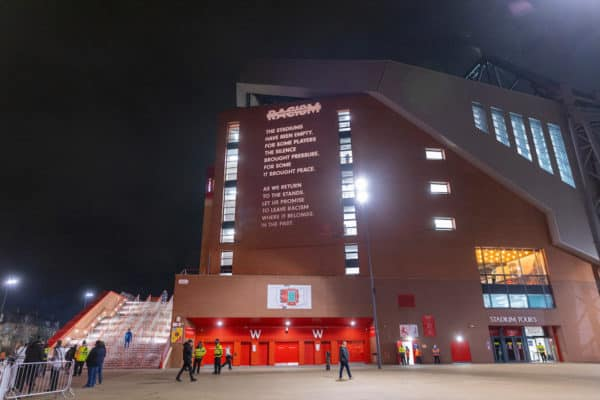 LIVERPOOL, ENGLAND - Sunday, December 6, 2020: A message against racism is projected onto the Main Stand as Liverpool prepares to welcome 2,000 spectators back into the stadium, pictured before the FA Premier League match between Liverpool FC and Wolverhampton Wanderers FC at Anfield. Liverpool won 4-0. (Pic by David Rawcliffe/Propaganda)