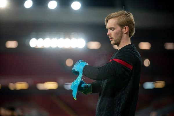 LIVERPOOL, ENGLAND - Sunday, December 6, 2020: Liverpool's goalkeeper Caoimhin Kelleher during the pre-match warm-up before the FA Premier League match between Liverpool FC and Wolverhampton Wanderers FC at Anfield. Liverpool won 4-0. (Pic by David Rawcliffe/Propaganda)